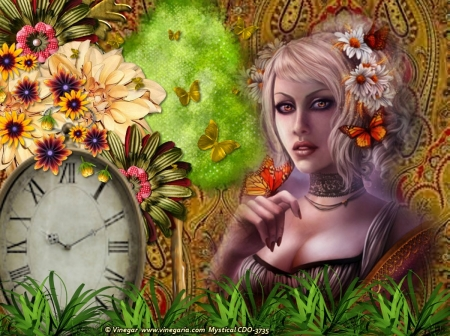 ᗰᗩᗪᗩᗰ ᗷᑌTTᕮᖇᖴᒪY - Butterflies, Grass, Fantasy, Nature, Abstract, flowers, Woman, Flowers, Tree, Clock
