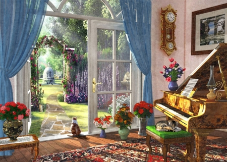 Summer Garden View - fountain, window, clock, artwork, piano, painting, flowers, sunshine, room, cats
