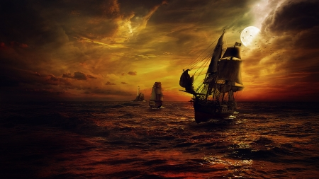 Ships at sea - sail, gules, pirates, sea, strom, night, moon, fantasy, sailboat, cloud, ship