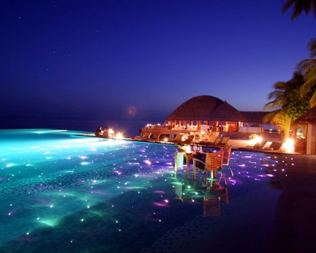 Tropical Resort,Maldives - resort, maldives, nature, palm, evening, lights