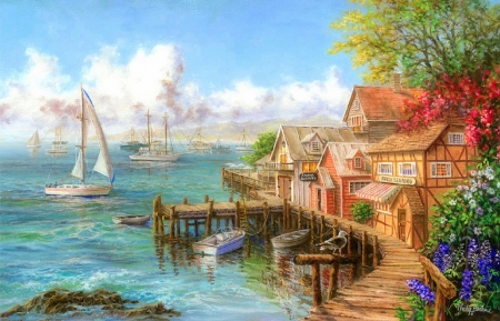 Mariner's Haven - cottages, love four seasons, attractions in dreams, sea, boats, paintings, paradise, summer, seaside, nature, sailboats