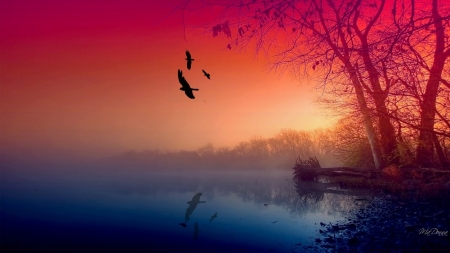 Misty Lake - fall, birds, sunset, trees, lake, nature, misty, river, reflection