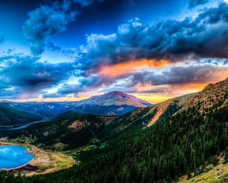 Lake Mountain - mountain, nature, sunset, trees, clouds, lake, landscape
