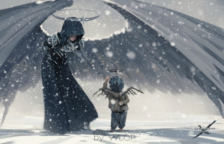 We were angels - art, wings, luminos, angel, black, bow, winter, wlop, boy, fantasy, girl, snow, child, white