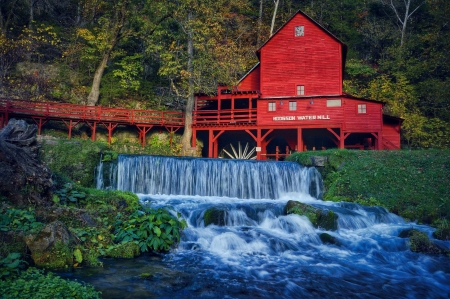Hodgson Water Mill - Ozark Missouri, bridge, water, water mill, rocks, Hodgson Mill, Ozark County, foliage, mill, waterfall, trees, Missouri, Hodgson Water Mill, building