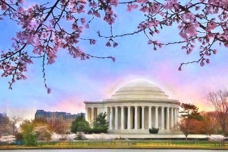 Jefferson Memorial - architecture, monuments, love four seasons, spring, attractions in dreams, photography, flowers, nature, pink