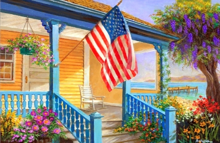 My Home Sweet Home - houses, love four seasons, home, American flag, attractions in dreams, sea, paintings, beaches, summer, flowers, seaside, nature