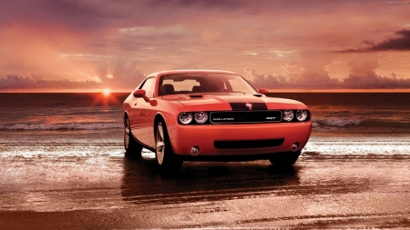 dodge challenger - beach, sunset, challenger, dodge