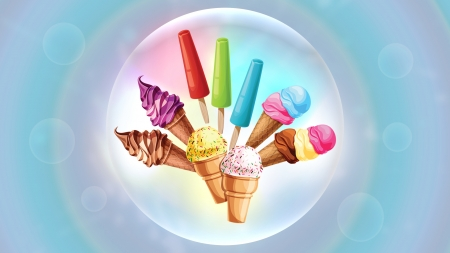 Ice cream - red, colorful, bubble, ice cream, food, rainbow, sweet, dessert, green, purple, summer, cornet, pink, blue, vector