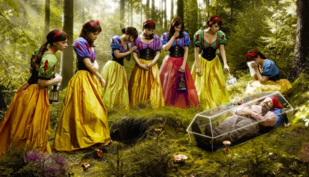 Snowwhite Fantasy - pretty, coffin, forest, art, beautiful, woman, fantasy, girl, snowwhite, digital, seven, girls, dwarf
