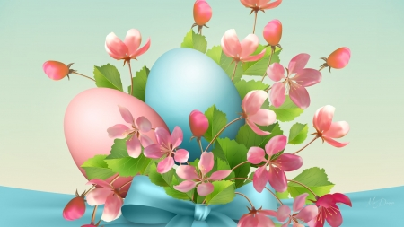 Easter Eggs & Sakura - sakura, Easter, Easter eggs, ribbon, flowers, blossoms, spring, Firefox Persona theme