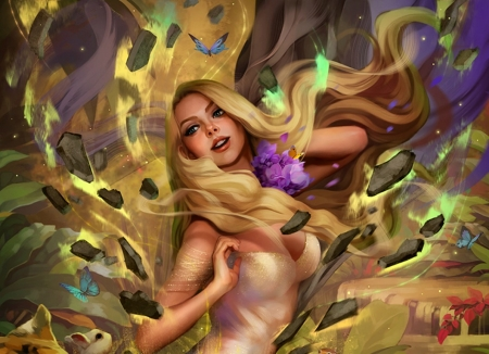 Ea - ea, tsvetka, fantasy, luminos, girl, legend of the cryptids, yellow, blonde