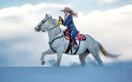Good Ride Cowgirl. . - female, hats, cowgirl, boots, ranch, fun, outdoors, women, horses, winter, cold, snow, girls, blondes, western, style