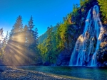 Mountain Waterfall in the Sun
