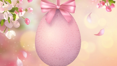Easter Egg and Sakura - sakura, Easter egg, ribbon, spring, bow, floral, Easter, blossoms, flowers, pink