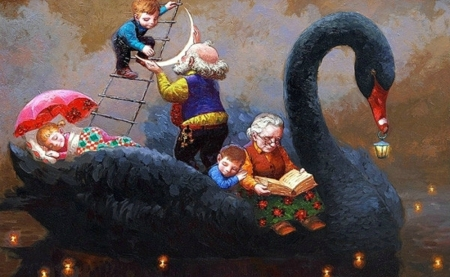 Black Swan - luna, luminos, pasare, children, creative, grandmother, fantasy, moon, bird, painting, copil, black swan, pictura, victor nizovtsev, grandfather