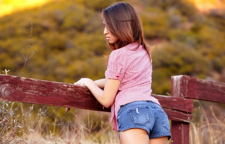 On The Ranch. . - female, daisy dukes, models, cowgirl, ranch, fun, outdoors, women, Sarah Luv, brunettes, fences, fields, girls, fashion, western, style
