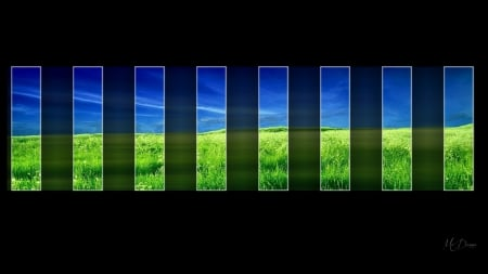 Nature Window - grass, blocks, abstract, sky, panes, windows, green, field, Firefox Persona theme