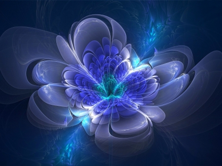 beautiful flower - flower, 3d, abstract, background