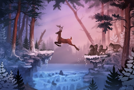 Magical forest - forest, colorful, lovely, beautiful, magic, cartoon, deer, winter, anime, hunt, peaceful, nature, wolf, pink, blue