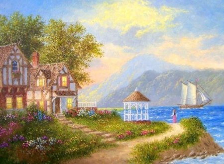 Down by the Shore - architecture, houses, love four seasons, home, attractions in dreams, paintings, paradise, summer, flowers, seaside, nature, gazebo, sailboat
