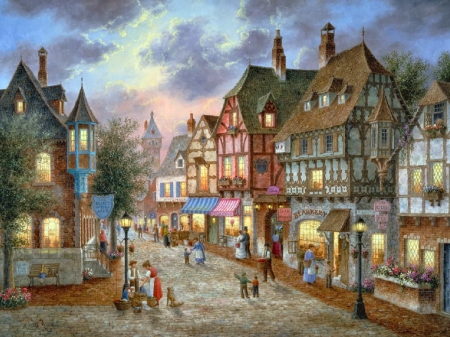 Bearington Street - people, houses, town, painting, cobblestone, clouds, sky, artwork