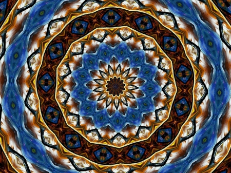 Blue and Brown Kaleidoscope C - art, brown, beautiful, abstract, illustration, artwork, kaleidoscope, painting, wide screen, blue