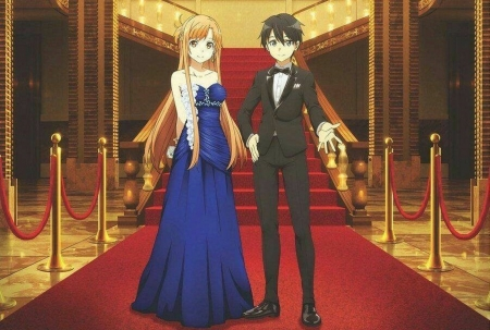 Red Carpet - red, dress, kazuto, kazuto kirigaya, kirito, sweet, lovers, anime, love, anime girl, long hair, couple, gorgeous, yuuki, female, lovely, gown, kirigaya kazuto, yuuki asuna, sword art online, anime couple, kirigaya, short hair, sao, asuna yuuki, girl, red carpet, asuna, m