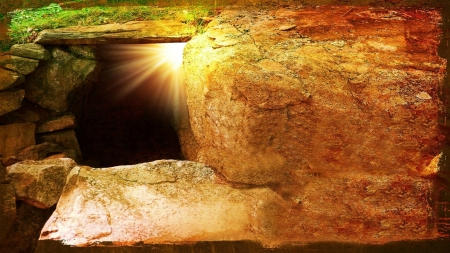 THE DAY OF RESURRECTION - rocks, tomb, Easter, Easter morning, Jesus