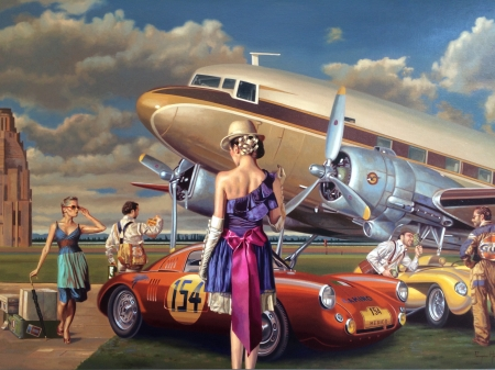 Camino - plane, airfield, car, racing, colours