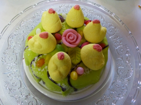 Easter Cake - cake, table, rose, chicken, decorations, plate, easter