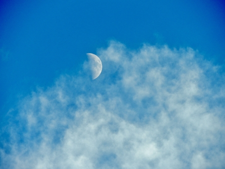 Cloudy Moon - Sky, Clouds, Moon, Space, Photography