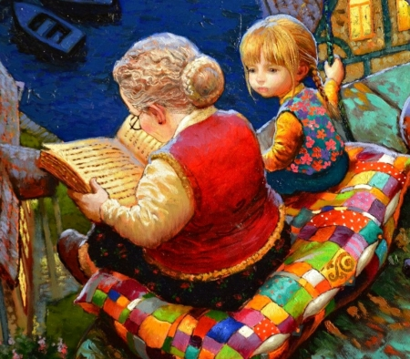 Once upon a time... - red, colorful, pillow, luminos, book, grandmother, tale, painting, copil, child, pictura, victor nizovtsev