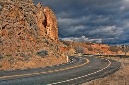 Utah State Highway 66 - sky, usa, mountains, clouds, road
