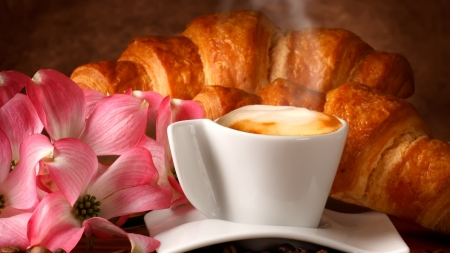 breakfast - coissant, coffee, saucer, flower, cup