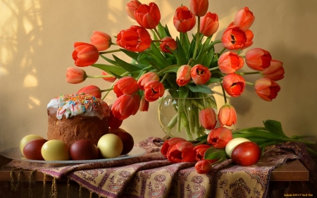 Tulips on Easter - bred, Easter, still life, tulips, eggs