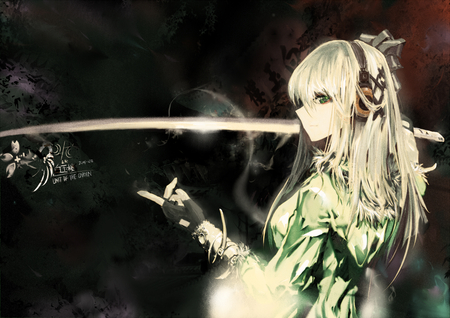 She loves her sword - headphones, white hair, ribbon, anime, katana