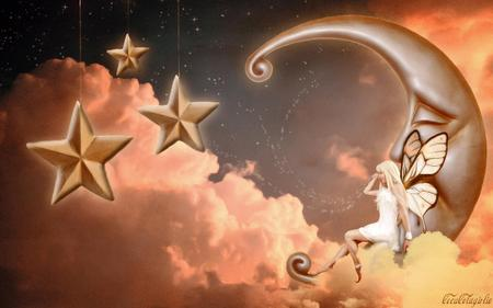 Creation of the Stars - faerie, stars, moon, clouds, fairy