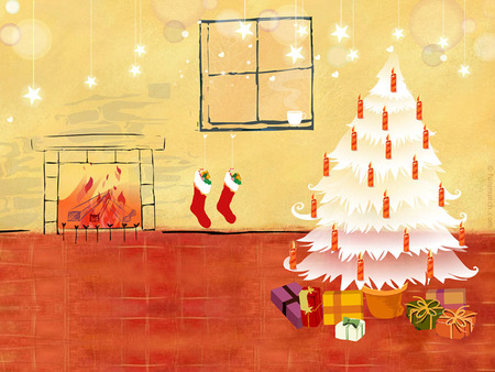 Red Christmas! - red, art, window, christmas, holiday, socks, om, beautiful, xmas, card, fireplace, drawing, presents, popular, room