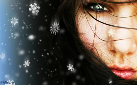 Winter is Her Name - snow, woman, face, girl, pretty, snow flakes