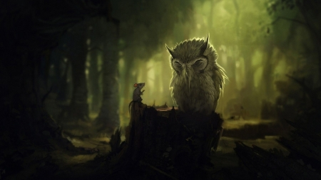 Owl and the Mouse - owl, forest, fairy tale, woods, fantasy, green, mouse, story, imagination, Firefox Persona theme