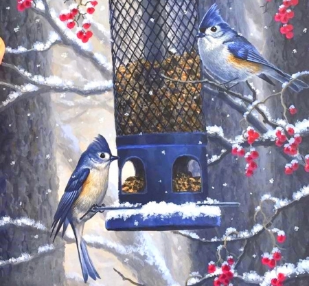 Dinner on a Cold Day - snow, winter, paintings, birds, animals, bluejays, love four seasons, cherries, bird feed, nature