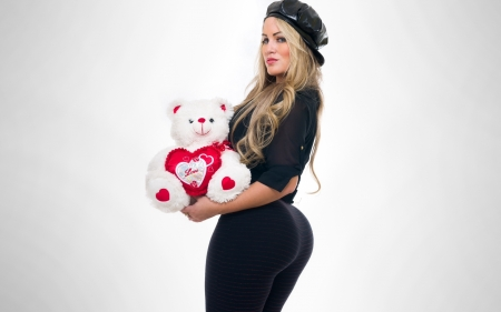 Isis Gomes - teddy bears, models, hats, simple background, Isis Gomes, blondes, stuffed toys