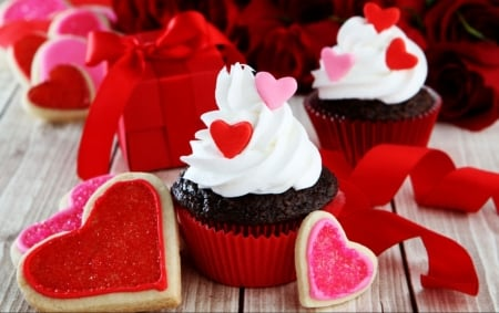 ♥ - cupcakes, hearts, abstract, love
