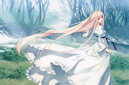 Nanatsuki Shion - blonde, cg, long hair, forest, game, pure, white, pretty, girl, nature