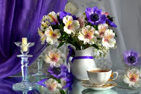 Tea time - time, lovely, tea, bouquet, vase, flowers, spring, coffee, pretty, still life, candle, beautiful