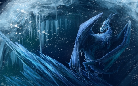 Dragon - art, ice, winter, blue, dragon, luminos, fantasy