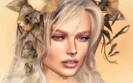 Beauty - rendering, woman, girl, susanne drechsler, face, luminos, fantasy, flower