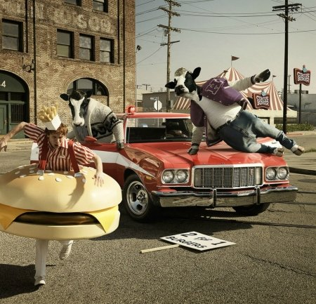 Bad cows - cow, andy mahr, guy, creative, situation, animal, boy, fantasy, add, car, vaca, bad, funny, commercial