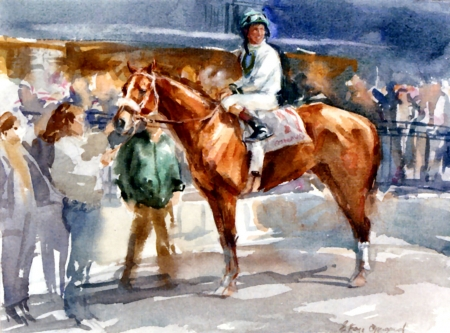 An Overbrook Entry with Jockey Up - Horse - art, jockey, illustration, animal, equine, wide screen, thorobred, beautiful, horse, thoroughbred, artwork, painting